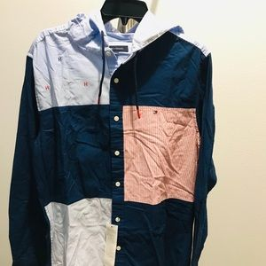 Tommy Hilfiger Hooded Button Down Shirt